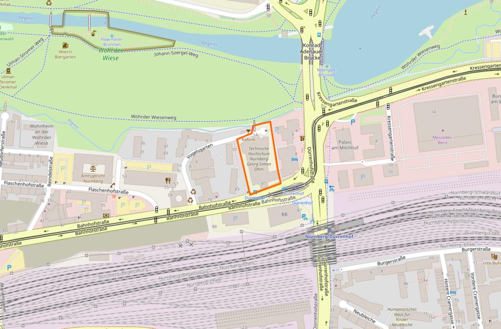 Karte der Gegend um die Bahnhofstraße 87